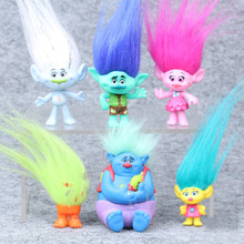 6Pcs/Set Trolls Dolls 8cm Cartoon Movie Figure Branch Collectible PVC Dolls Long Hair With Clothes Poppy Doll Toy For Kids(China (Mainland))