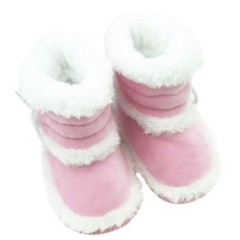 Fashion Winter Baby Girls Snow Boots Infant Solid Lace Up Shoes Prewalker Anti-slip Boots 0-18 Months