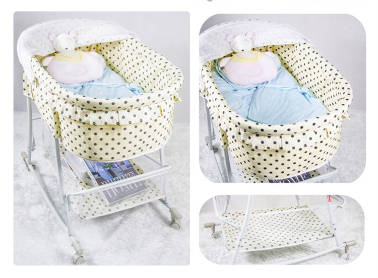 High Quality Newborn Infant Cradle For Boys Or Girls Factory Wholesale Price Baby Swing Bed Beige Color With Dot Hot Sale 2015(China (Mainland))