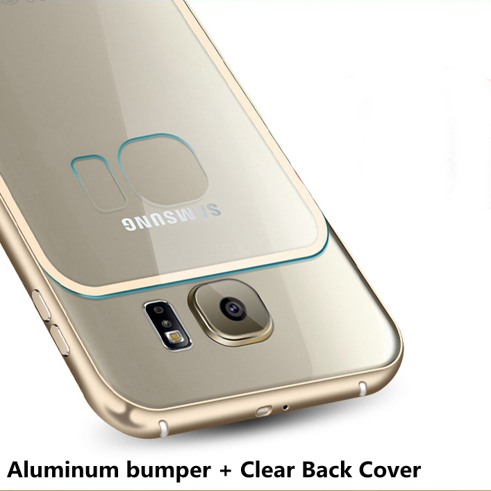 S6 /S6 Edge! Metal Aluminum +Transparent Clear Acrylic Hard Back Case For Samsung Galaxy S6 G9200 / Edge Luxury Cover Shockproof(China (Mainland))
