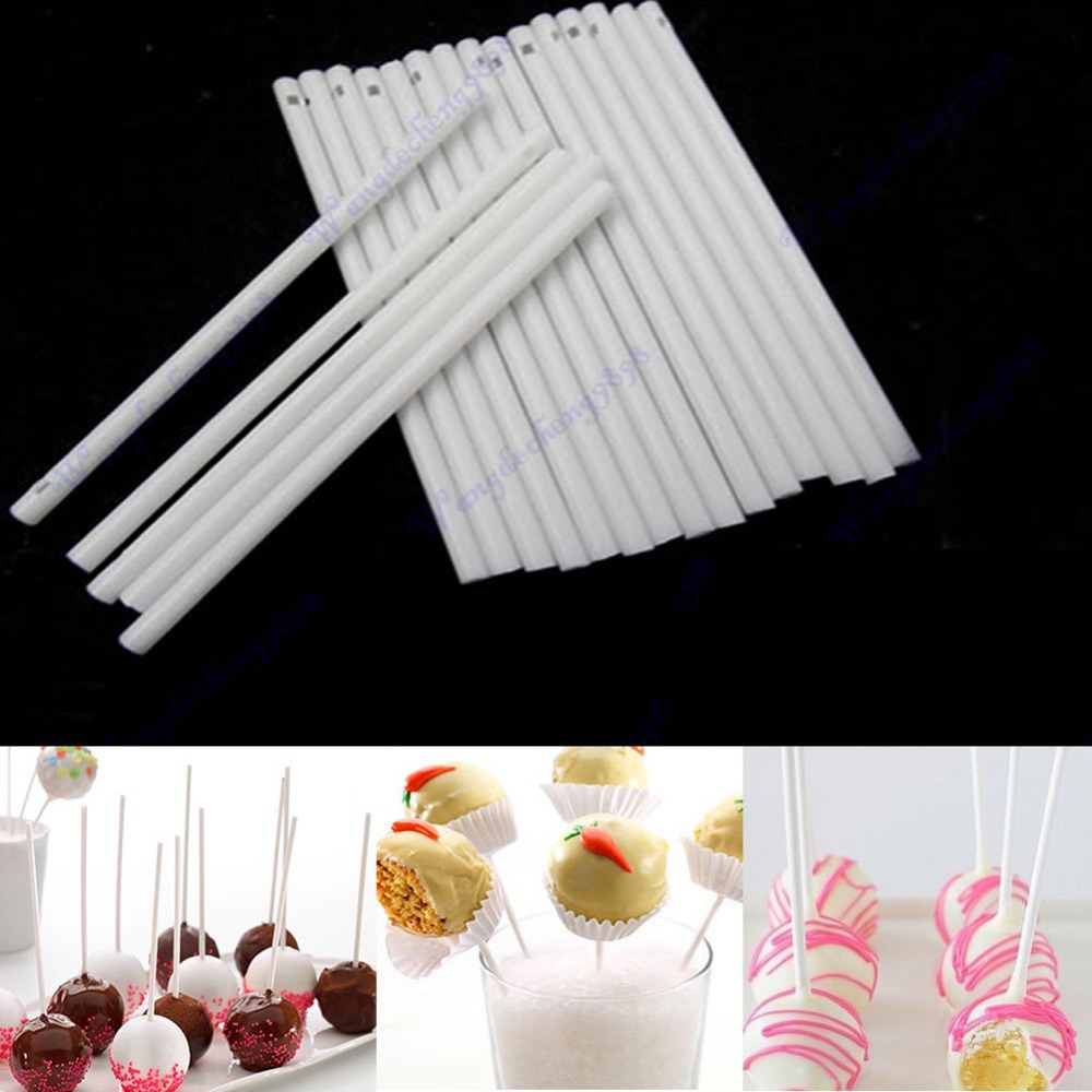 A96 Free Shipping 100 pcs Pop Sucker Sticks Chocolate Cake Lollipop Lolly Candy Making Mould White(China (Mainland))