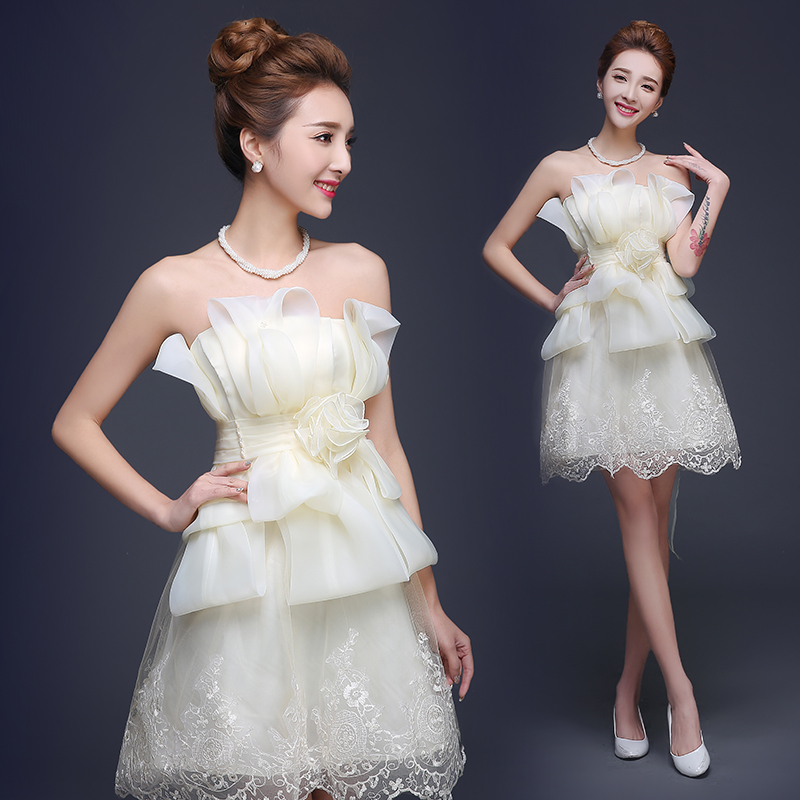 Flower champagne bride dress short cute organza summer for Champagne lace short wedding dress