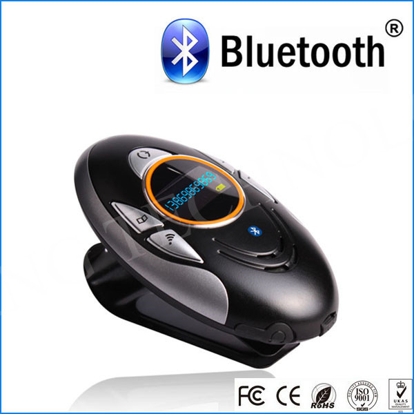 voice dial function sun visor a2dp bluetooth mp3 player car kit gadget with dsp technology oled screen(China (Mainland))