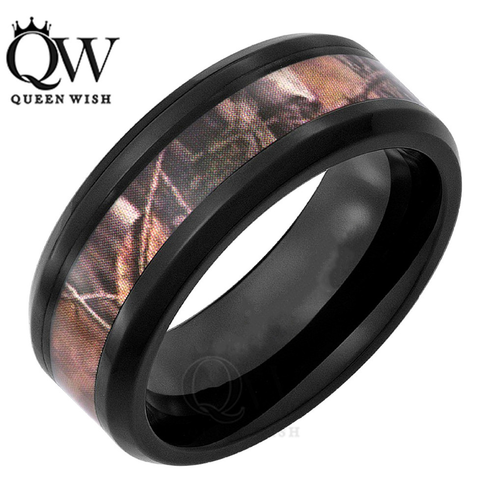 Mens Outdoors Bands: 8mm Black Tungsten Men'S Outdoor Hunting Camouflage