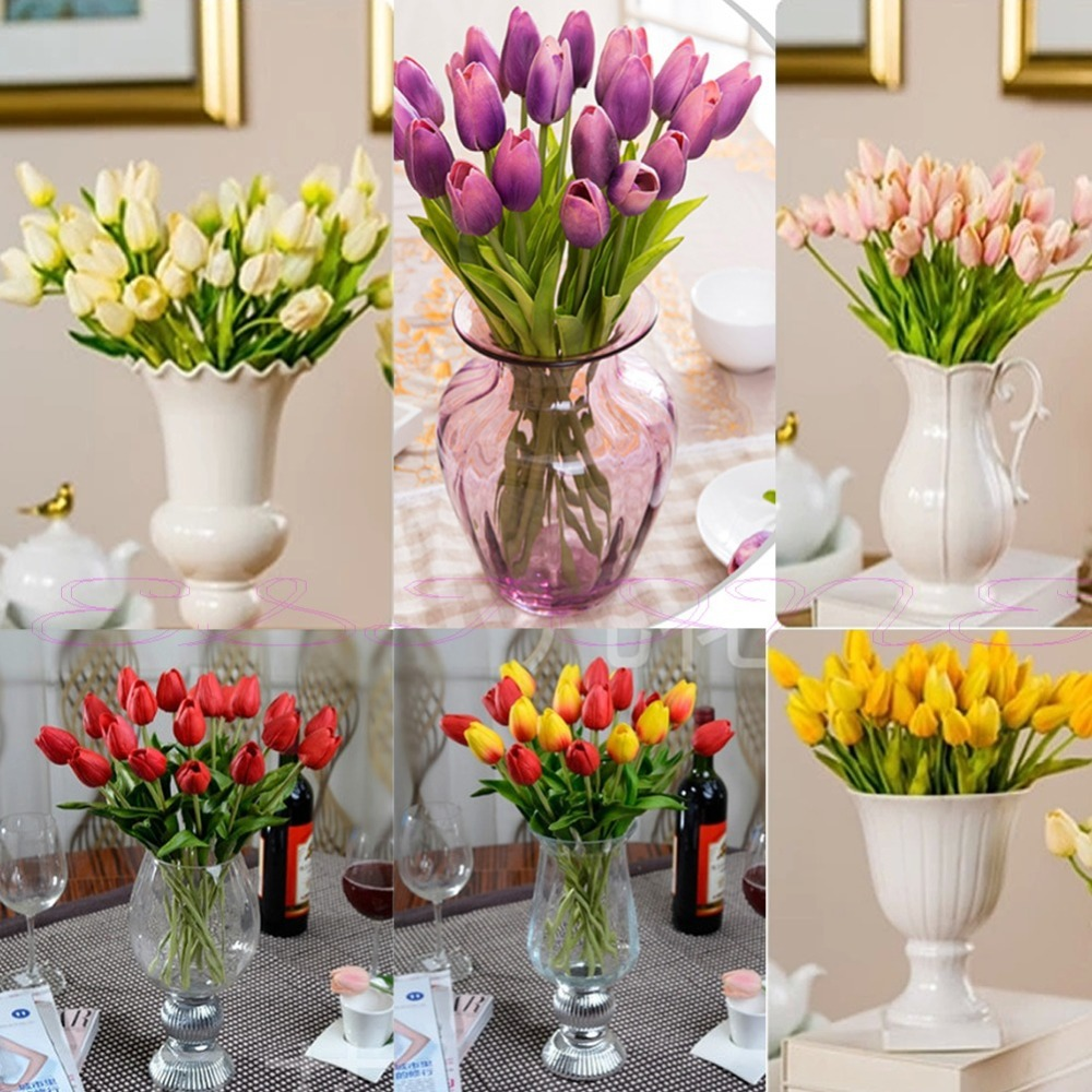Free shipping Fashion 12pcs Tulip Artificial Flower Latex Wedding Bouquet Home Garden Decor(China (Mainland))
