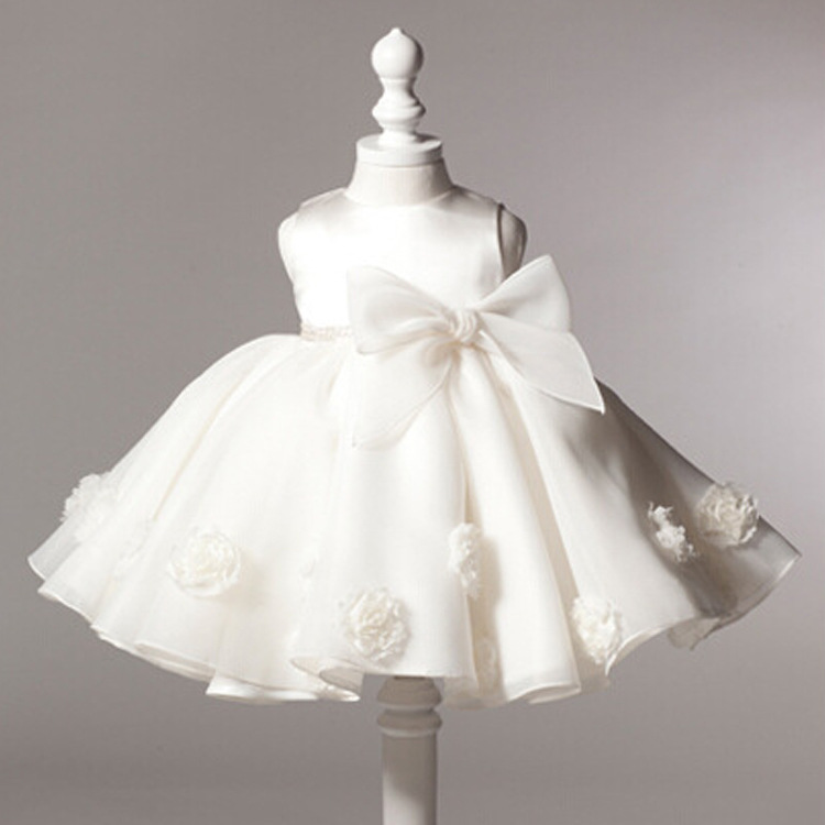 cheap kids girls first birthday baptism white christening dress for infant party(China (Mainland))