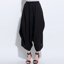 Women Pants 2015 Harem Pants Women's Twisting Wide Leg Pants Bloomers Original Design Elastic Waist Linen Pants Women Trousers(China (Mainland))