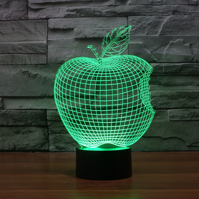 Home Decor 1Piece 3D APPLE NIGHT LAMP Acrylic Wood Mood Lamp Bulbing Light For Bedroom(China (Mainland))
