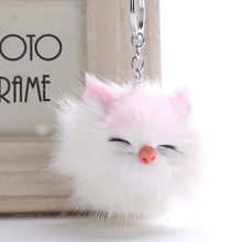 Fofo Coelho Bola De Pêlo Pompom Gato Gatinho Bonito KeyChain Chaveiro Titular Chaveiro de Couro Pu Animal Cão de Estimação Saco de Charme chaveiros(China)