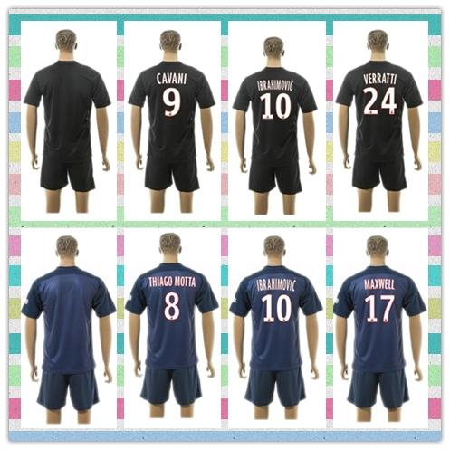 New Style Uniforms Kit SILVA IBRAHIMOVIC MATUIDI Lucas PASTORE Blue 2015-2016 VERRATTI Soccer Jersey shirt(China (Mainland))