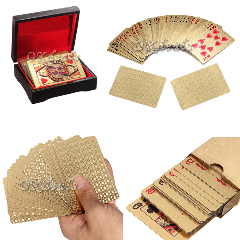 1 X New 24K Karat Gold Foil Plated Game Poker Casino Playing Card Special Gift(China (Mainland))