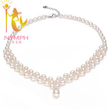Charming NYMPH real pearl necklace natural freshwater colar pearl jewelry fine Engagement wedding  for women [BEAUTIFUL BRIDE](China (Mainland))