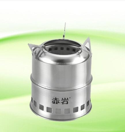 Potable Stainless Steel Wood Burning Camping Stove,Solidified Alcohol Stove Outdoor Cooking Picnic BBQ Camping(China (Mainland))