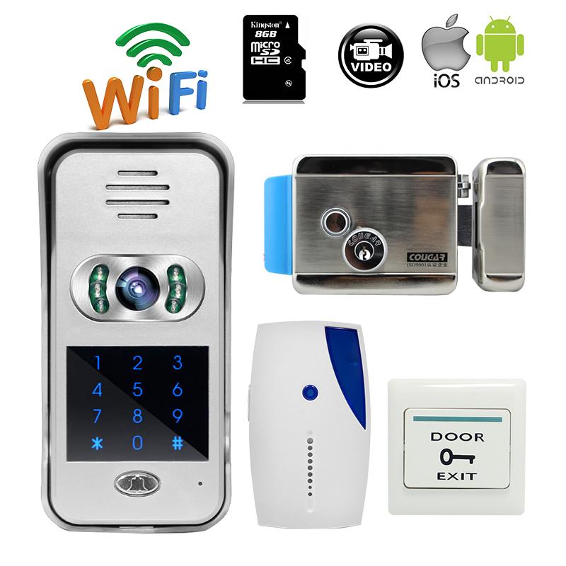 Free Shipping Code / Keypad Unlock Wireless Wifi 720P Doorbell Outdoor Video Intercom for Android IOS Phone E-lock + Indoor Bell(China (Mainland))