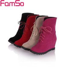 Envío gratis 2016 nuevas mujeres atractivas botas de tacón alto tobillo botas cuñas otoño zapatos de invierno para mujer vestido de botas de nieve SBT1763(China (Mainland))