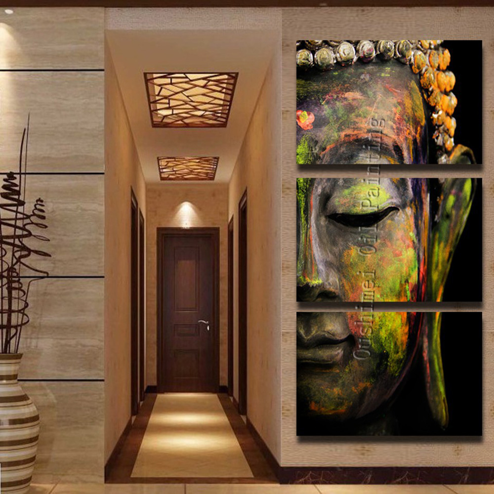 Hand Painted Buddha Painting Religious Paintings on Canvas 3P Group Painting Hang Picture Wall Buddhism Oil Paintings(China (Mainland))