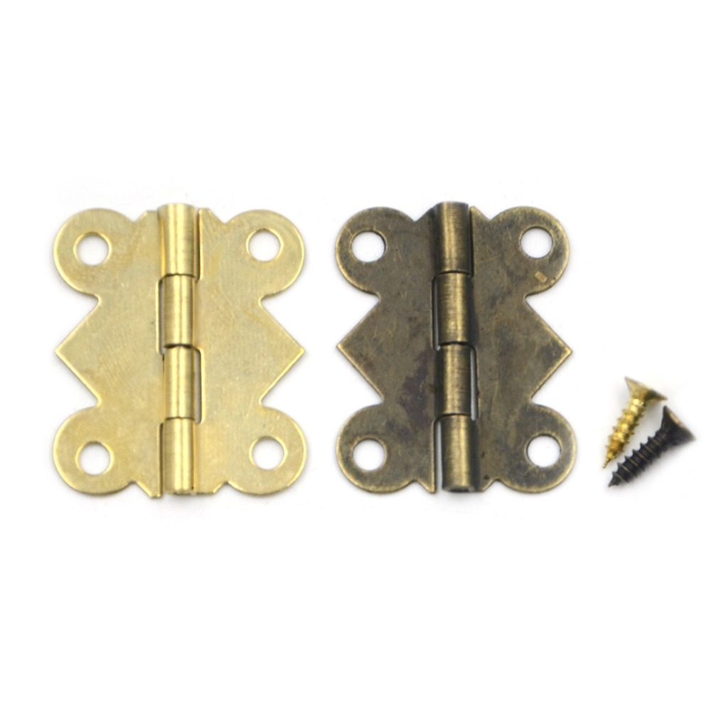 10pcs 25*20mm 180 Degrees Mix 2 colors Butterfly Iron Hinges Cabinet Drawer Door with Screw(China (Mainland))