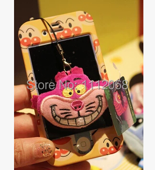 2 pcs/lot Original Cartoon Alice in Wonderland Cheshire Cat animal plush doll phone accessories Wipe the phone's screen(China (Mainland))
