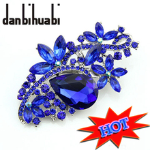 danbihuabi brand Brooches for women crystal large Brooch Rhinestone Bouquet wedding accessories sapphire jewelry lapel pin