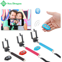 MI Extendable Self Portrait Selfie Stick Handhold Monopod Wireless Bluetooth Remote Shutter Control for IOS Android Phone Z07-1
