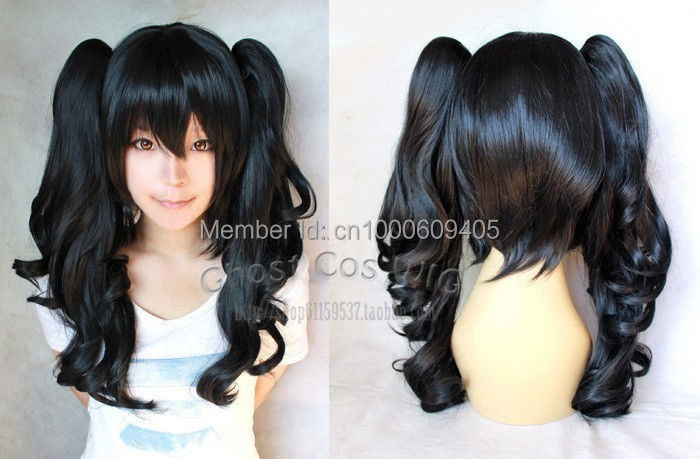 New Long Black Wavy Cosplay Wig 60cm + two ponytails(China (Mainland))