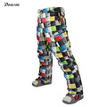 New brand colorful Grid winter warm thick waterproof windproof ski pants men oudoor sports snowboard skiing