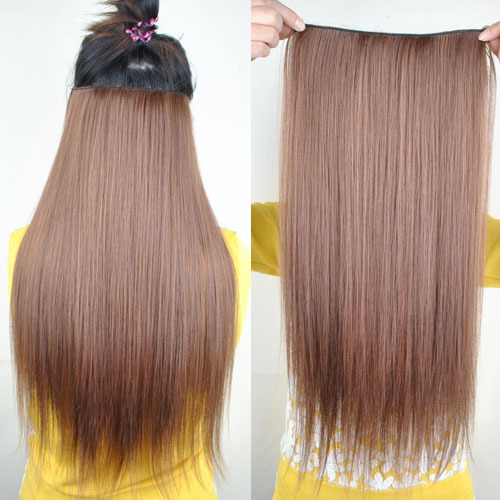 Fashion Womens Long Straight Silky Synthetic 5 Clips One Piece Clip Hair Extensions Black Brown Blonde Color Hairpiece - V-Girl store