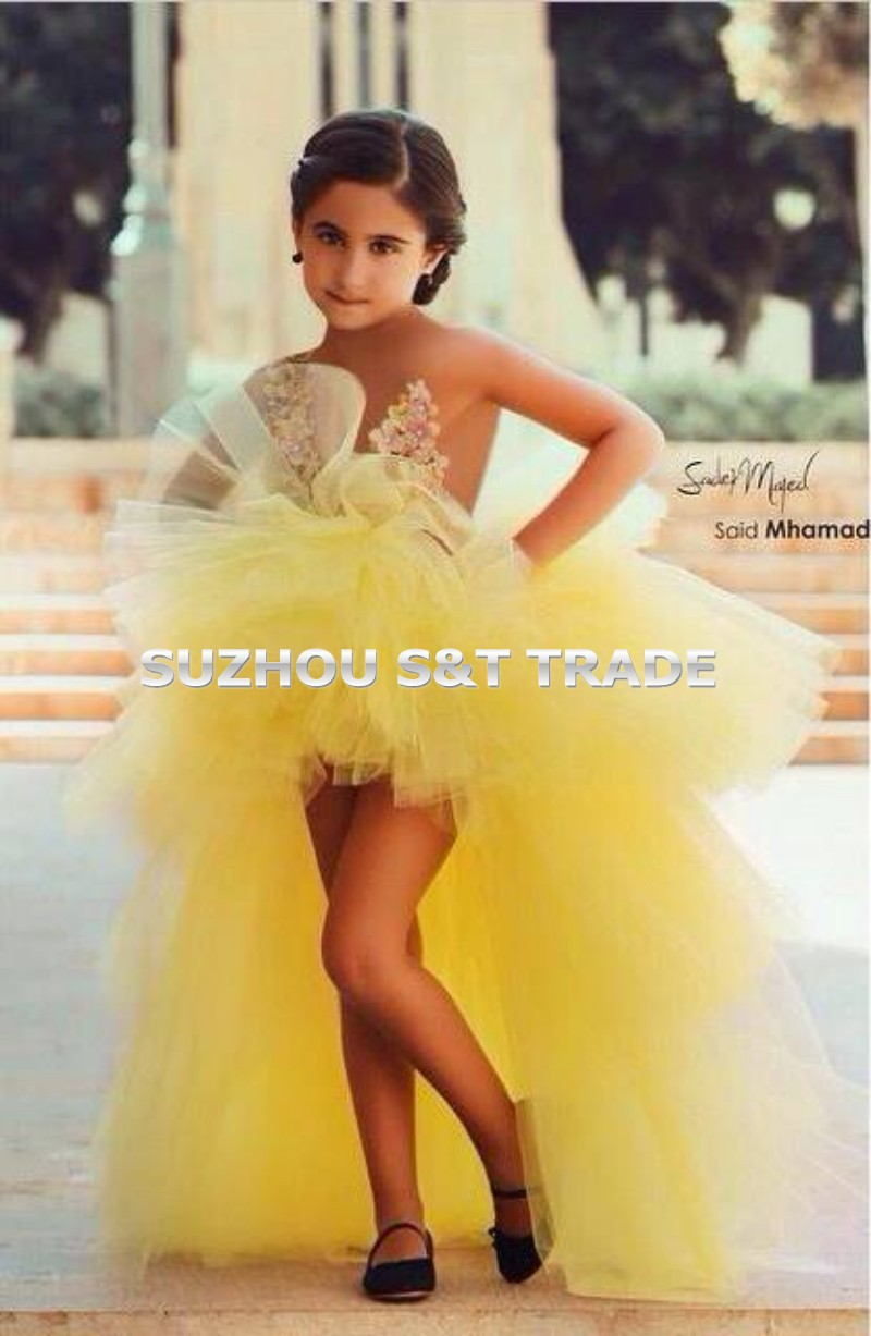 Elegant Tiered Tulle Flower Girl Dress New Yellow Little Girls Pageant Dresses Fashion Short
