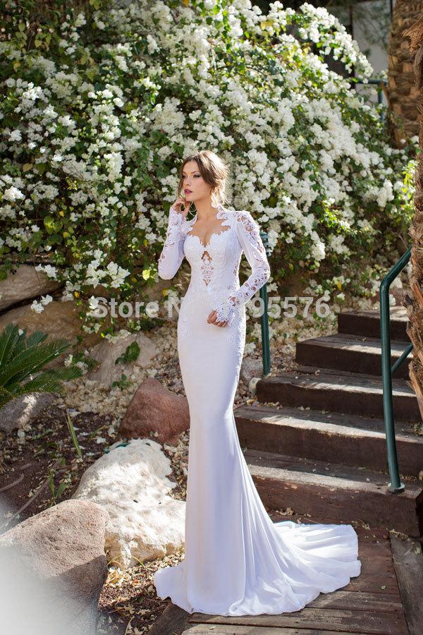 20152014 Open Back Vestidos De Novia julie vino Vintage Wedding Dresses Pluning Neck Sharon Long Sleeve Hollow Lace 2014 Bridal - SD Apparel ManuFactory store