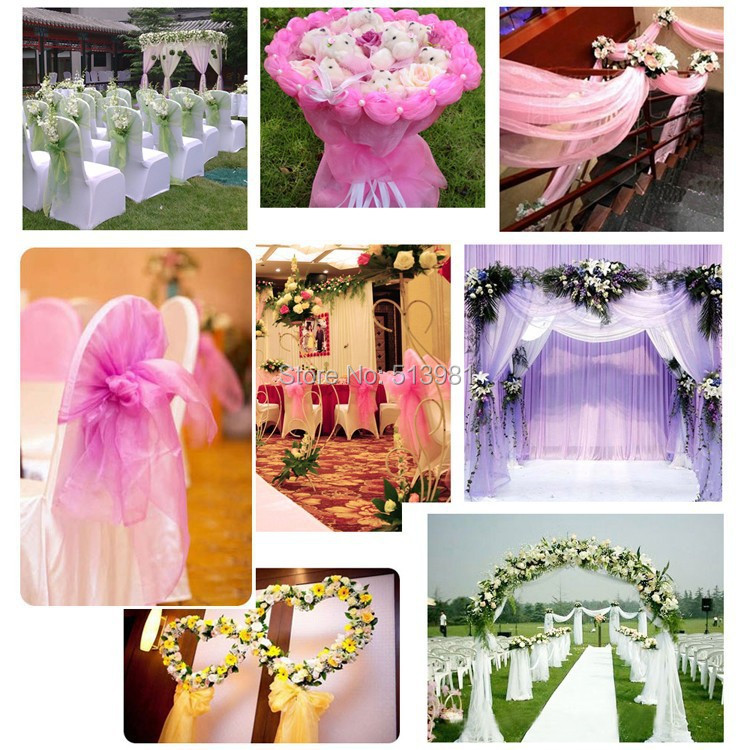 Wholesale Coral 5m135m Organza Fabric Wedding Decoration Table Top Curtain Party Chair Sash