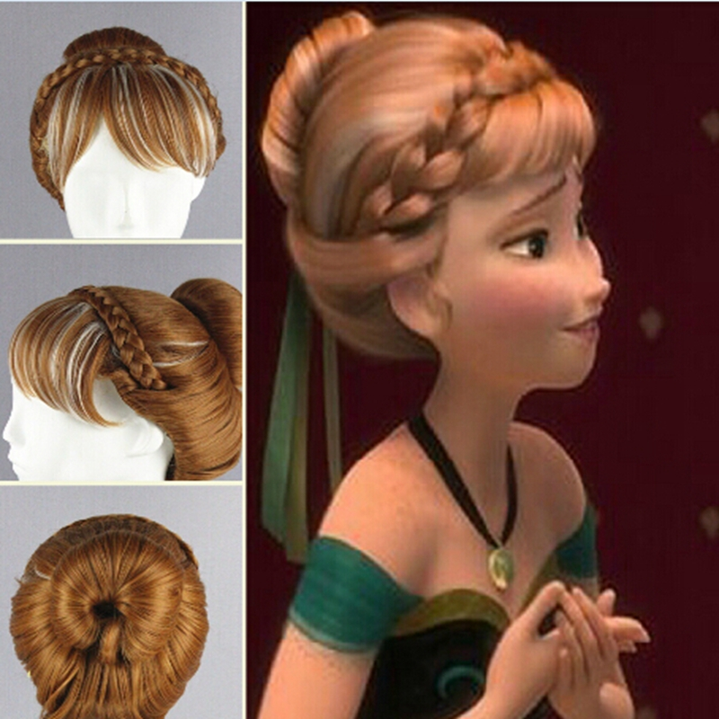 Children's wig Princess Anna/Anna Snow and ice colors Dish hair highlights modelling cosplay wig(China (Mainland))