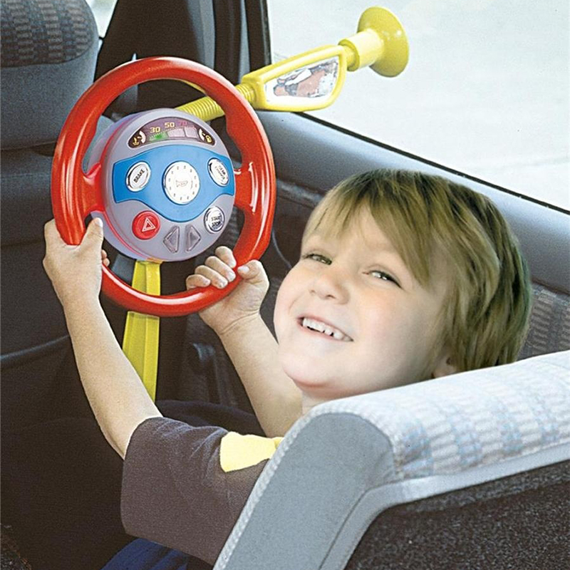 Kid Back Seat Car Steering Wheel Toy Driving Game Horn Electronic Sounds Light #FM0551(China (Mainland))