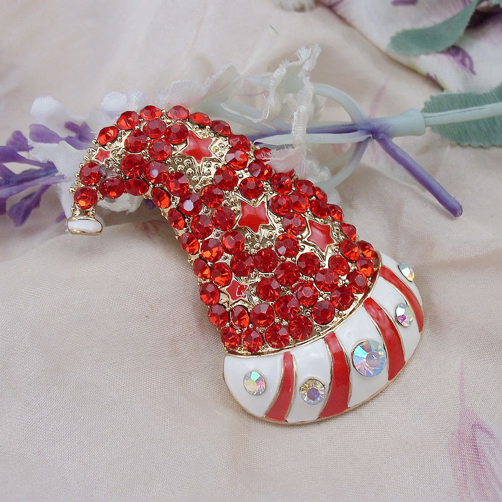 Red Rhinestone Crystal Santa Clause Star Hat Brooch Pin Enamel Christmas Jewelry Gold Plated Promotion Winter Gift, 6 pieces/lot(China (Mainland))