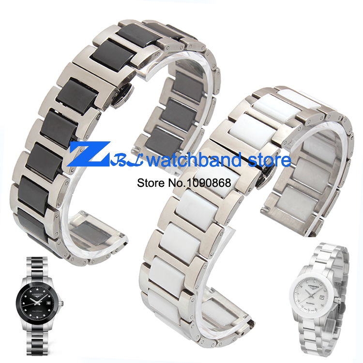 16mm 18mm 20mm ceramic and stainless steel watchband white or black watch band  watch strap Butterfly Buckle wristband <br><br>Aliexpress