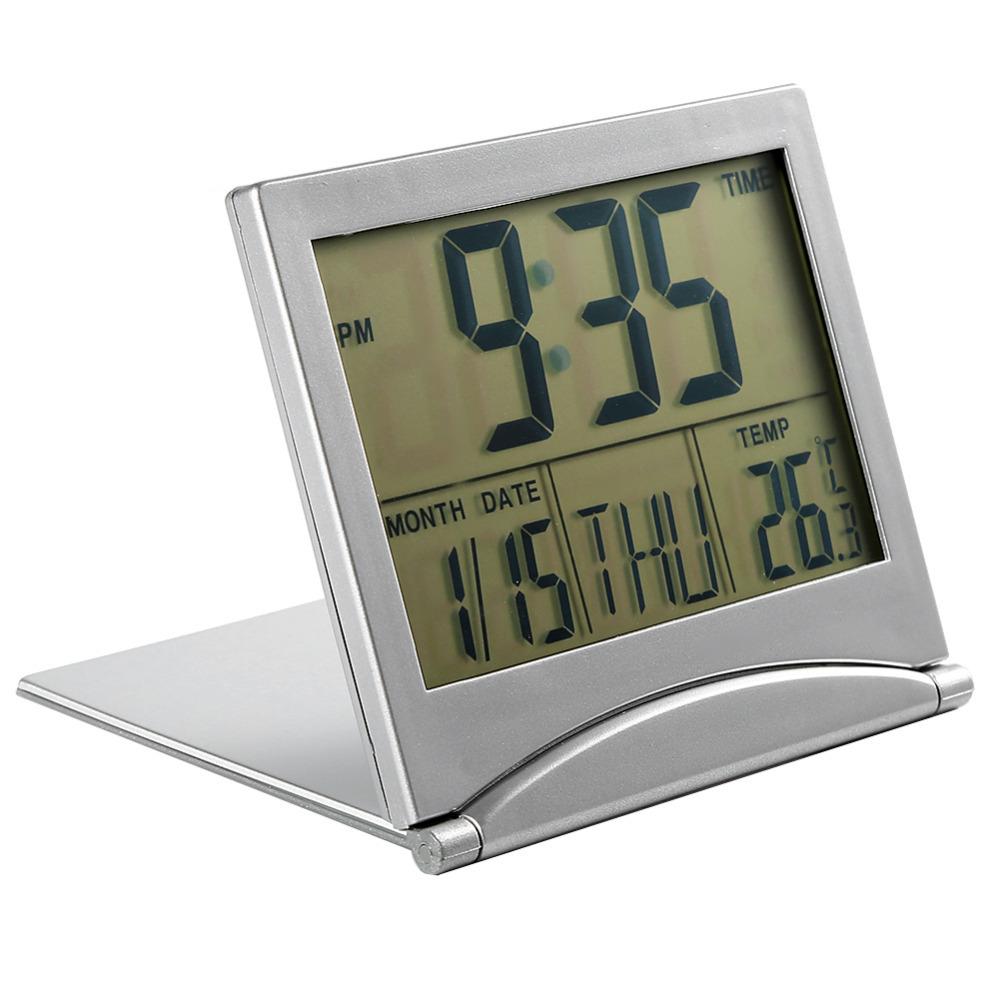 Orologio sveglia digitale da tavolo viaggio richiedibile con datario e temperat ebay - Orologio da tavolo digitale ...