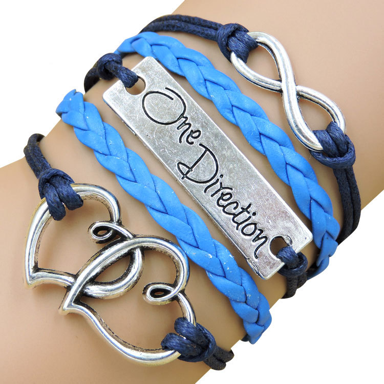 Women's Fashion One Direction Sideways Love Heart Infinity Leather Bracelets & Bangles Weave Braided,Multicolor Charm bracelet(China (Mainland))