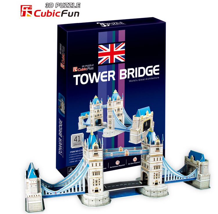 Medium Size Cubic Fun 3D Puzzle Toys Series C Big Ben Leaning Tower of Pisa Titanic Dome of the rock Tower Bridge Paper Model(China (Mainland))
