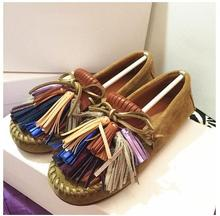 hot sale women flat brown suede leather shoes tassel fashion shoes size 35-42(China (Mainland))