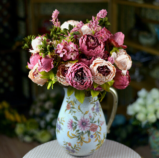 """(8 heads/bunch) 47cm/18.5"""" Artificial Peony Flower Fake Peonies with Foam Berries & Hydrangea Flowers for Wedding Bouquets(China (Mainland))"""