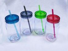 500ML Clear single wall Plastic candy jar cup brief fashion jar with straw lid tumbler mug drinking water bottle(China (Mainland))