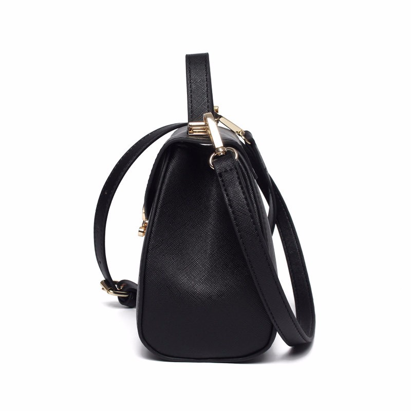Ladylike Small Hand Bag Women Sweet Style Lock&Flap Black Shoulder Bag PU Leather  Korean Style Lady Trendy Casual Crossbody Bag