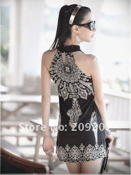 New arrived floral prints ladies' slimmer spaghetti strap dress 121948 (Drop shipping support!)