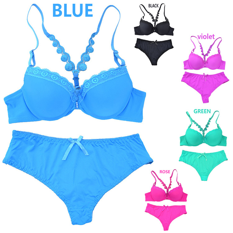 2015 New Adjustable Brand Women Underwear Bra Set Front Button Y-Line Straps Cute Lingerie Sets High Quality Free Shipping()