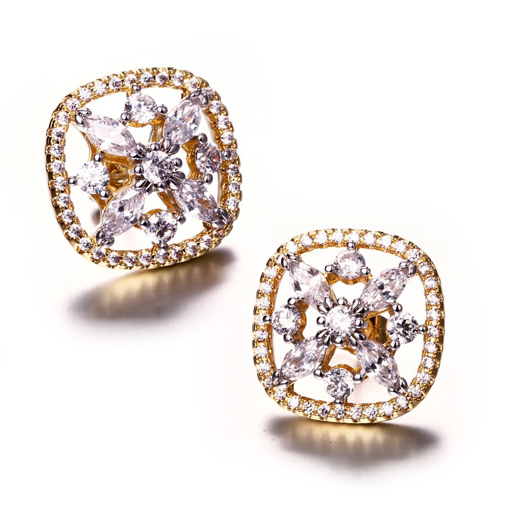 Square stud earrings High quality jewelry Cubic zirconia round earrings Gold and white plate micro pave setting bijoux femme(China (Mainland))