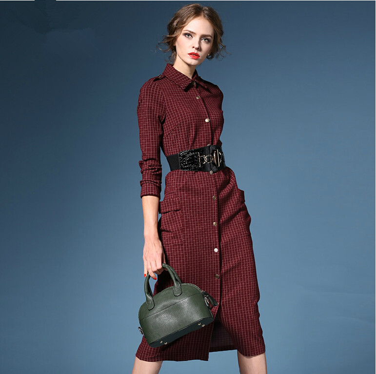 2015 fashion women fall dresses british style plaid dress Women s long sleeve shirt dress