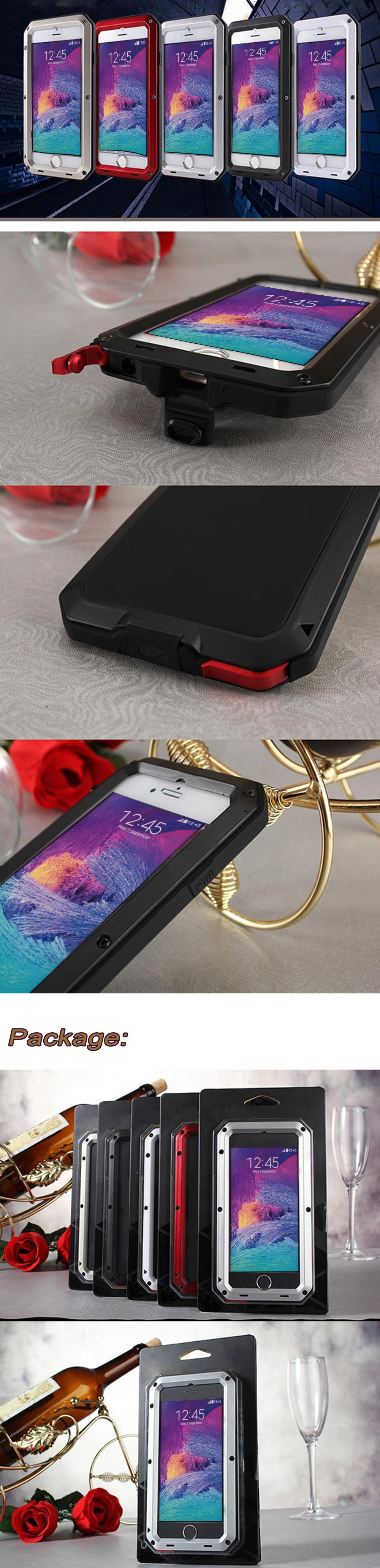 """Luxury Life Weatherproof Dirt Shock Proof Metal alloy Cover Case Gorilla Glass For Apple iPhone 4/4S 5/5S/SE 6/6S 6 Plus 5.5"""""""