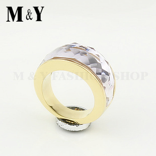 Free shipping crystal finger ring 316L stainless steel 18k yellow gold elegant clear pink crystal ring for women gift ring TTR32(China (Mainland))