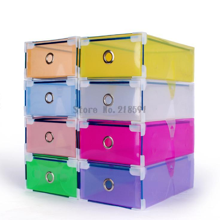 Colorful Transparent Clear Plastic PP Storage Box Packaging Boxes For Shoes Foldable Organizer Box Men Women