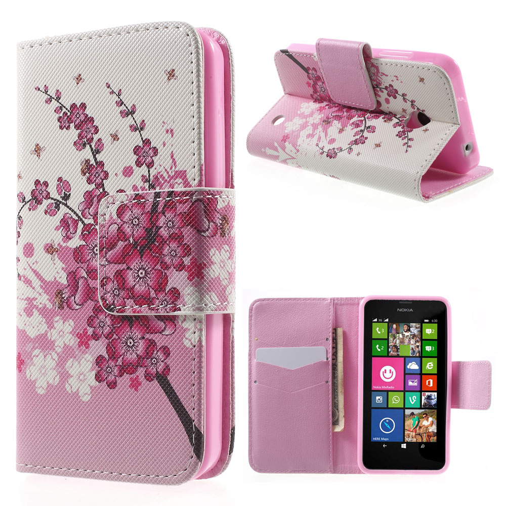 For Nokia Lumia 630 Case Mobile Phone Bag Back Wintersweet Flip Wallet PU Leather Shell for Nokia Lumia 630 / 630 Dual SIM Cover(China (Mainland))