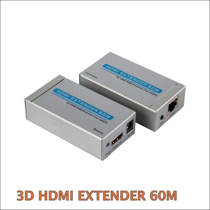 NEW HDMI  Extender over Cat 5e/6 Ethernet Converter 1080p to 196ft 60M Silver color With retail Color box package<br><br>Aliexpress